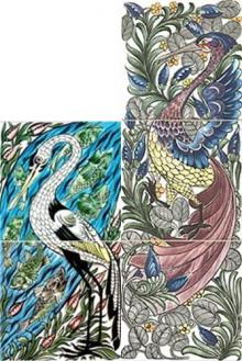 Left: 'Stork and Fish' two tile set designed by William de Morgan – available from Charles Rupert Designs. Right: 'Exotic Bird' designed by William de Morgan