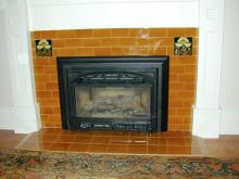 This new fireplace has rich amber 3