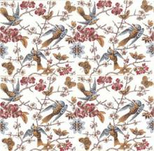 Birds and blossoms flow across four tiles. English 1880's. From Charles Rupert Designs.