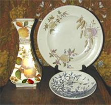 Three Aesthetic pieces of china – English early 1880's. Private collection. Shown against a background of William Morris' 'Honeysuckle' linen.