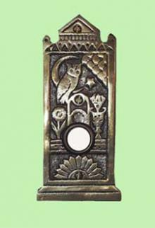 A doorbell push plate adapted from an original Aesthetic piece of hardware, features typical motifs: an owl; moon; sunburst; and simple flowers. Available from Charles Rupert Designs.