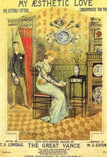 """My Aesthetic Love"" 1881 – Sheet Music Cover – ""Sung with Immense Success by The Great Vance"". Showing typical items of the Aesthetic period including 'bamboo' furniture, blue and white china, and fans and feathers used as touches of decoration."