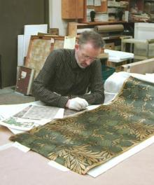 Stuart Stark, Design Director, researching the original 1884 colourway of Vine