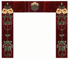 A fireplace set of reproduction c1910 Art Nouveau Rose tiles - two five tile sets and a single tile, with plain field tiles finishing the design. From Charles Rupert Designs